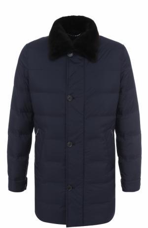 Стеганая куртка на молнии с меховой отделкой воротника Cortigiani. Цвет: темно-синий
