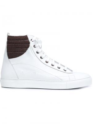 Хайтопы на шнуровке Raf Simons. Цвет: белый