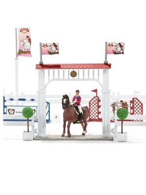 Большой набор Турнир с лошадьми и наездниками SCHLEICH. Цвет: бежевый, белый, розовый, серый