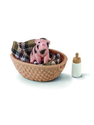 Набор Мини-свинья, бутылочка SCHLEICH. Цвет: черный, бежевый, розовый