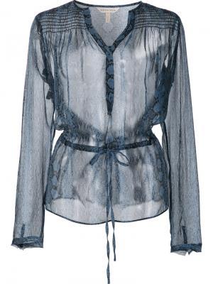 Полупрозрачная блузка Rebecca Taylor. Цвет: синий