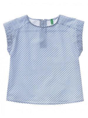 Блузка United Colors of Benetton. Цвет: темно-синий, серо-голубой, светло-серый