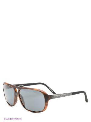 Солнцезащитные очки Porsche Design. Цвет: коричневый, темно-синий