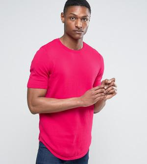 ASOS Длинная трикотажная футболка малинового цвета с асимметричным краем AS. Цвет: розовый