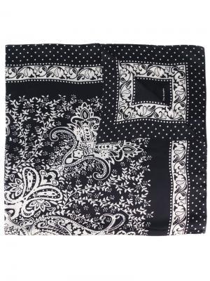 Шелковый шарф с орнаментом The Kooples. Цвет: чёрный
