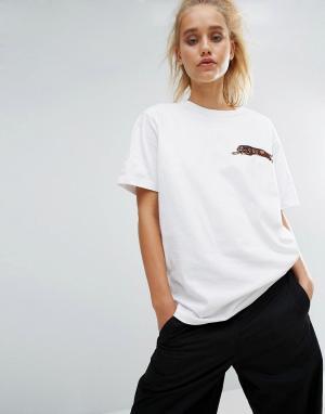 Maharishi Oversize-футболка с вышитым леопардом. Цвет: белый