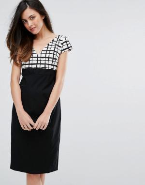 Vesper Платье-футляр с решетчатым принтом и контрастной юбкой. Цвет: черный