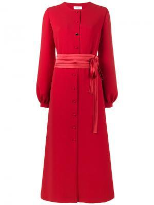 Длинное платье на пуговицах Racil. Цвет: красный