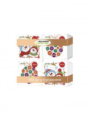 Набор из 4-х упаковок однослойных салфеток с принтом Снеговики и Новогодние Шары, 4х100шт Bulgaree Green. Цвет: белый