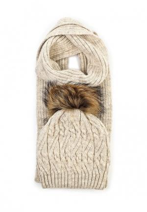 Комплект шапка и шарф Ferz. Цвет: бежевый