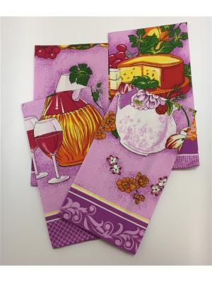 Набор полотенец, 4 шт A and C Collection. Цвет: фиолетовый