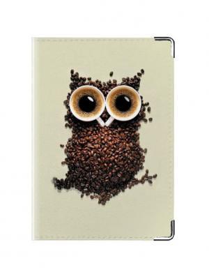 Обложка для паспорта кожа Кофейная Сова Tina Bolotina. Цвет: серо-коричневый, светло-серый