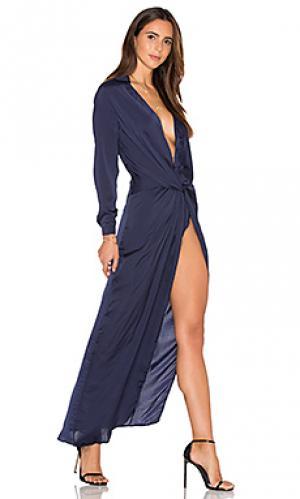 Макси платье positano LIONESS. Цвет: синий