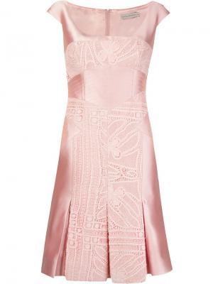 Lace inserts pleated dress Martha Medeiros. Цвет: розовый и фиолетовый