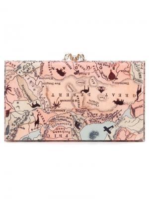 Клатч Pandora с принтом карты Charlotte Olympia. Цвет: телесный
