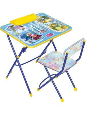 Комплект мебели (стол-парта+пенал+стул.мягк) Nika. Цвет: синий, светло-голубой