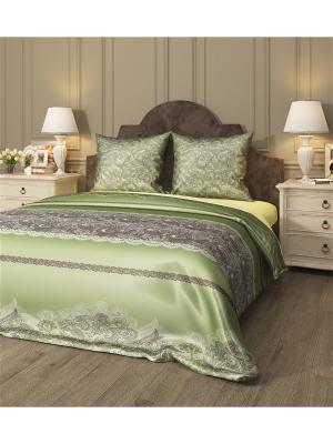 Комплект постельного белья Арабеска 2, семейный Сирень. Цвет: зеленый, коричневый, белый