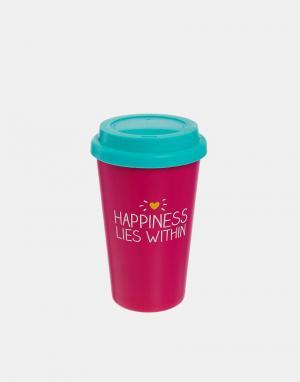 Happy Jackson Дорожная кружка Happiness Lies Within. Цвет: розовый