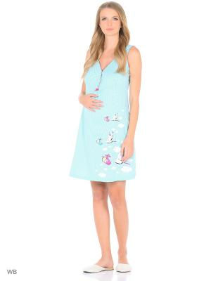 Ночная сорочка для беременных и кормящих FEST. Цвет: бирюзовый, серый