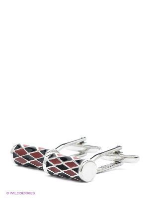 Запонки Цилиндры Красно-черные Mitya Veselkov. Цвет: серебристый, черный