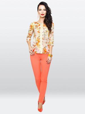 Блузка E.Levy. Цвет: бежевый, оранжевый, желтый