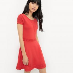Платье короткое, с короткими рукавами, однотонное SUNCOO. Цвет: красный