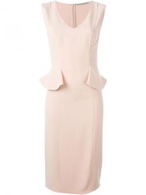 Приталенное платье с V-образным вырезом Ermanno Scervino. Цвет: розовый и фиолетовый
