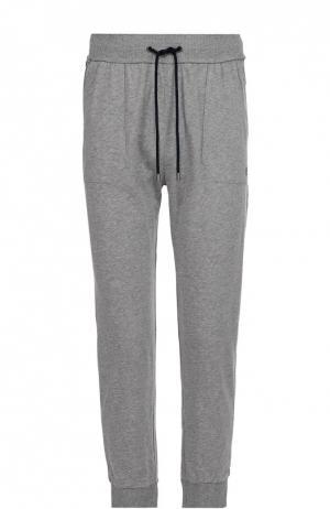 Хлопковые домашние брюки с манжетами BOSS. Цвет: серый