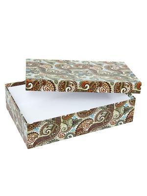 Коробка картонная, набор из 5 шт. 32х20х8 - 40х28х10 см. Персидские огурцы. VELD-CO. Цвет: морская волна, бордовый, коричневый