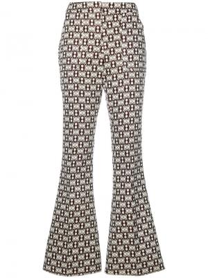 Расклешенные брюки с вышивкой Giamba. Цвет: многоцветный