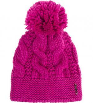 Вязаная шапка цвета фуксии с помпоном Capo. Цвет: фуксия