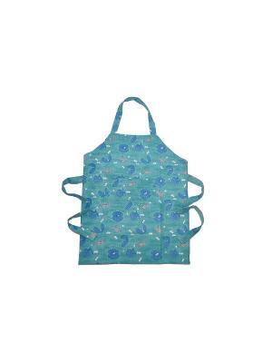 Фартук Hippocampe turquoise-blue /Морской конек бирюзовый-синий/, 100% хлопок Mas d'Ousvan. Цвет: морская волна
