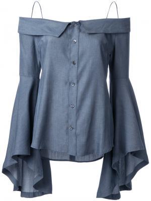 Джинсовая блузка с открытыми плечами G.V.G.V.. Цвет: серый