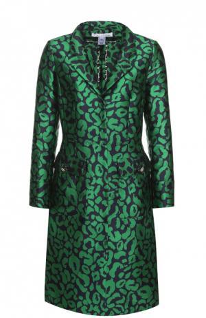 Приталенное пальто с накладными карманами и контрастным принтом Oscar de la Renta. Цвет: зеленый