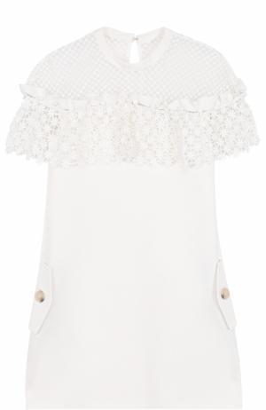 Приталенное мини-платье с кружевной отделкой self-portrait. Цвет: белый