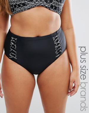 Costa Del Sol Плавки бикини размера плюс с завышенной талией. Цвет: черный