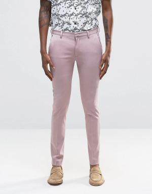 ASOS Розовые суперзауженные брюки. Цвет: розовый