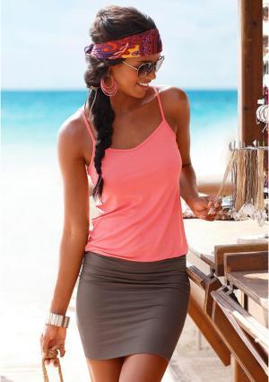 Пляжное платье BEACH TIME. Цвет: светло-красный/серо-коричневый