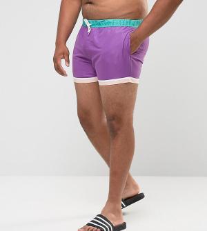 ASOS Фиолетовые короткие шорты для плавания с отделкой по краю PLUS. Цвет: фиолетовый