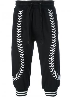 Укороченные брюки со шнуровкой KTZ. Цвет: чёрный