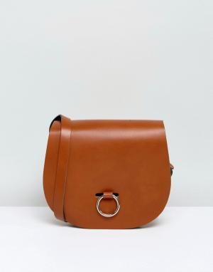 Leather Satchel Company Сумка с застежкой-кольцом. Цвет: рыжий