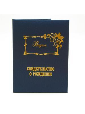 Именная обложка для свидетельства о рождении Вадим Dream Service. Цвет: синий
