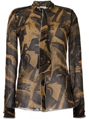 Рубашка с абстрактным принтом Veronique Leroy. Цвет: коричневый