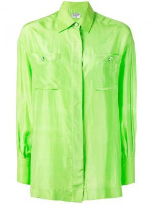 Шелковая рубашка Chanel Vintage. Цвет: зелёный