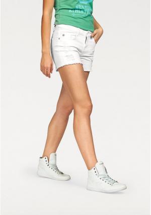 Джинсовые шорты Kangaroos. Цвет: белый стираный