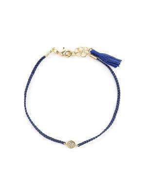 Текстильный синий браслет Exclaim. Цвет: золотистый