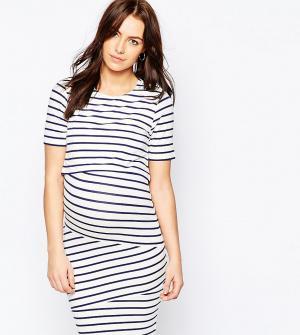 ASOS Maternity - Nursing Двухслойное облегающее платье в полоску для беременных. Цвет: мульти