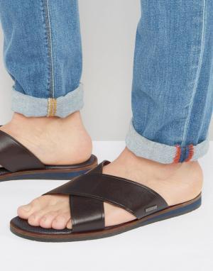 Ted Baker Кожаные сандалии с перекрестными ремешками Punxel. Цвет: коричневый