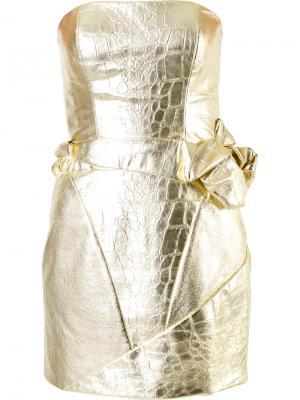 Платье-бюстье с эффектом кожи крокодила Rubin Singer. Цвет: металлический