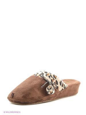 Тапочки женские Dream Feet. Цвет: коричневый